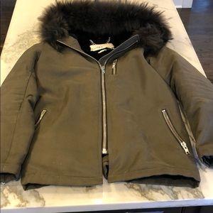Doma army green fur lined hood jacket sz M